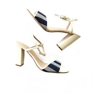 Banana Republic Woven Block Heel Cream Sandals